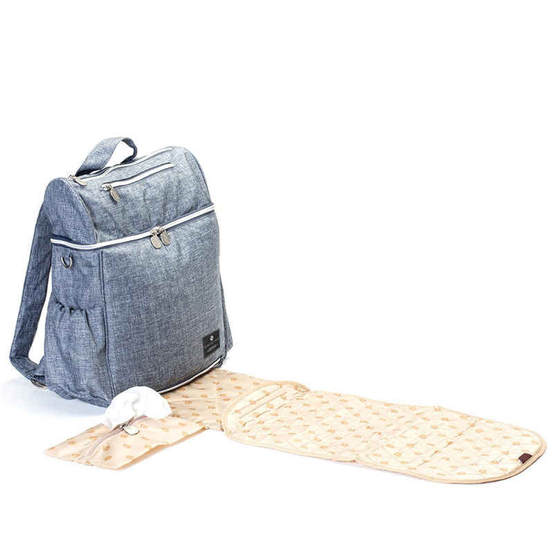 Multi Function Baby Mom Nappy Changing Diaper Bag Blue Denim
