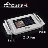 Micro pigmentation permanent makeup tattoo machine for artificial eyebrows with two hand pieces