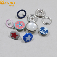 custom logo fashion pearl ring prong metal snap button for baby clothes