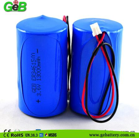 GEB 3.6v LISOCL2 lithium battery ER34615M 13000mAh D size with high power