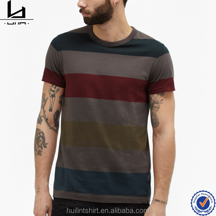 Made in india clothing low prices cheap striped wholesale 100% cotton crew neck t shirts