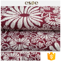 Women red pretty soft T/SP cheap floral jacquard fabric