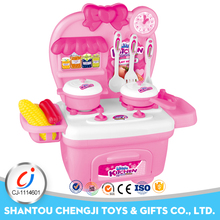 Hot sales girls preshcool kitchen plastic toy cooking set for kids