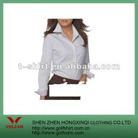women's white bland long sleeve uniform shirt made of broadcloth