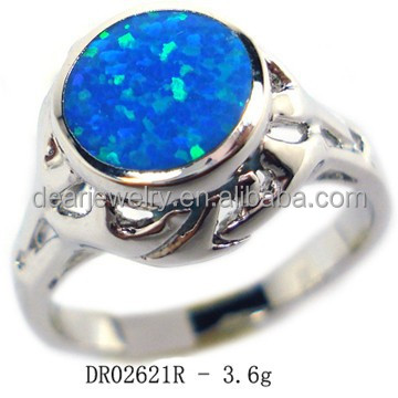 2015 Jewelry Display Opal Ring , Fashion Opal Jewelry , Blue Fire Opal Ring Accepted By paypal