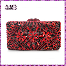 hard shell fancy ladies purse indian bridal clutch evening bag stone party evening bags (8777A-R)