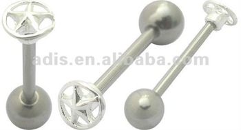 Surgical steel Pentagon Star in Circle Plain lip ring,Tongue Ring barbell