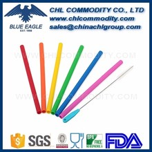 Reusable rubber silicone drinking straws with heat resistance