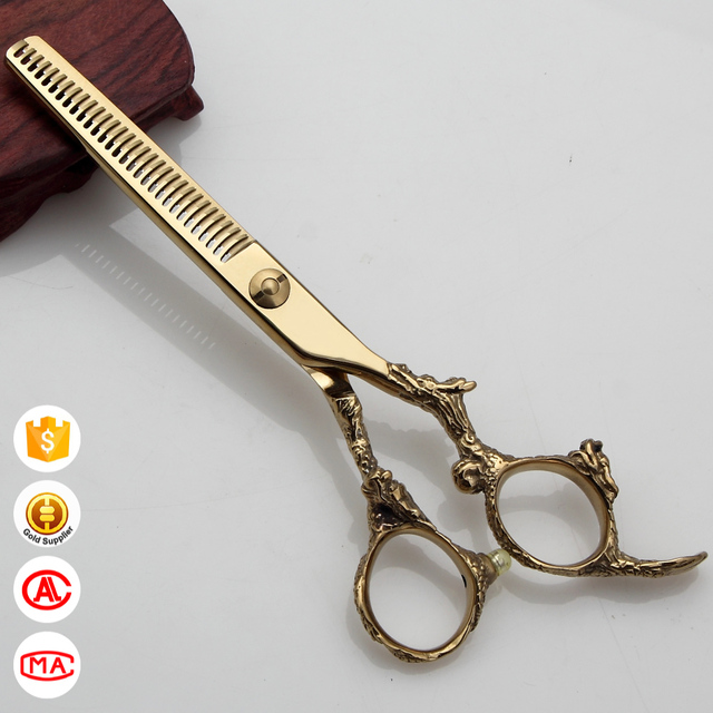 Gold Titanium Coated With Dragon Handles Thinning Scissors DR-630C Salon shears