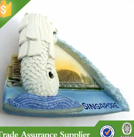 2015 Popular Handmade Cheap Singapore 3D Souvenir Fridge Magnet