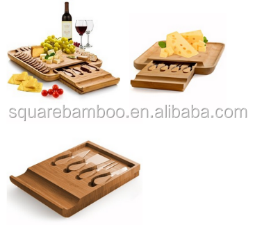 wooden cheese board serving set with tools