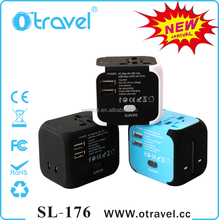 Otravel 2015 Newest Patent Type SL176 All in one Universal Travel Adapter Plug with Dual USB Port 2400mAh output travel charger