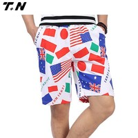 All over printed mens seersucker casual shorts