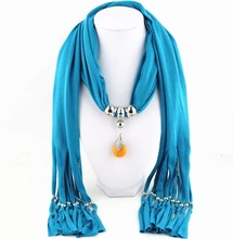 Cheap price pendant jewelry decorative long india scarf with beads