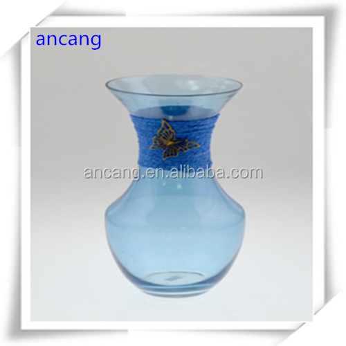 China cheap blue glass material cheap decorative flower vases and bowls