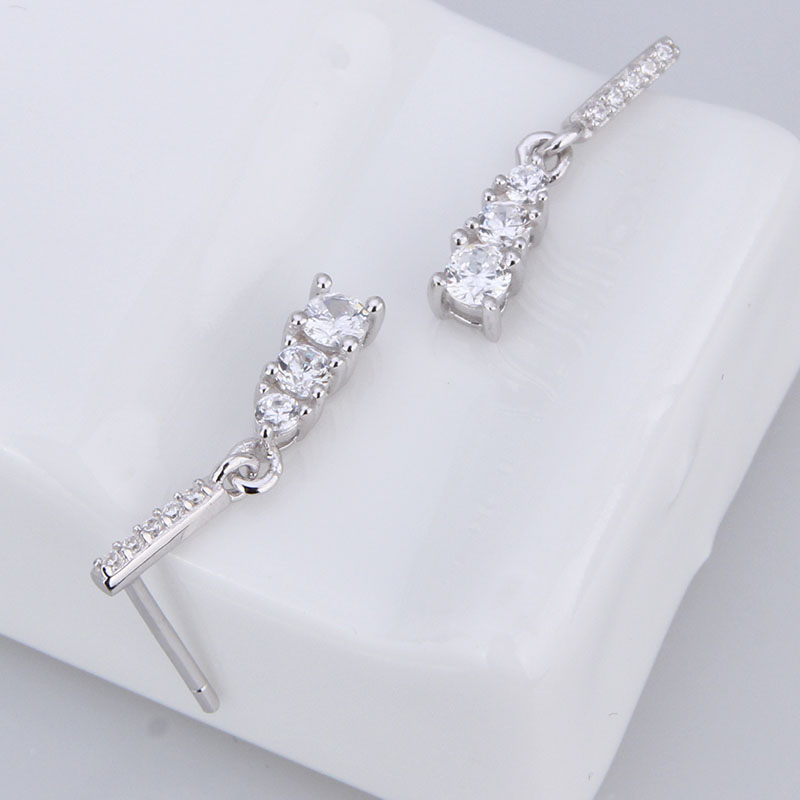3 stone cz stud earring 925 sterling silver white stone stud earrings