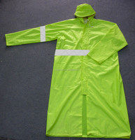 PVC/Polyester Poncho Adults High Visibility Fluorescent Reflective Raincoat