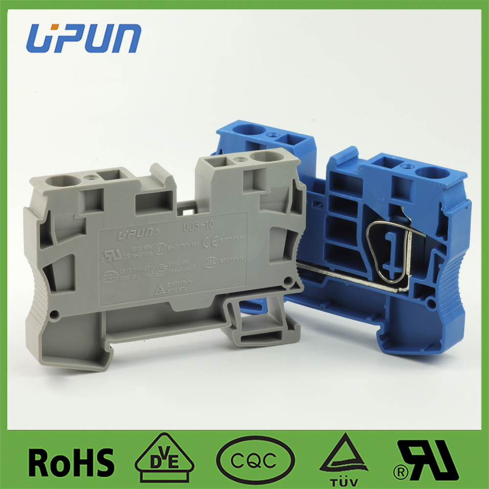 spring type wire connector electric terminal blockr UJ5-10 ,applied for automation control industry,free sample provided