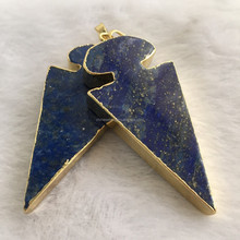 Yiwu factory Arrow shape Druzy Agate Pendant Gold Plated edge Agate Drusy Gemstone Pendant