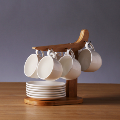 Unique Design Coffee Cup and Saucer Sets with Wooden Rack for Kitchenware Ornament Home Decor
