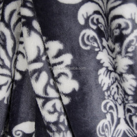 100% polyester damascus pattern flannel fabric printed