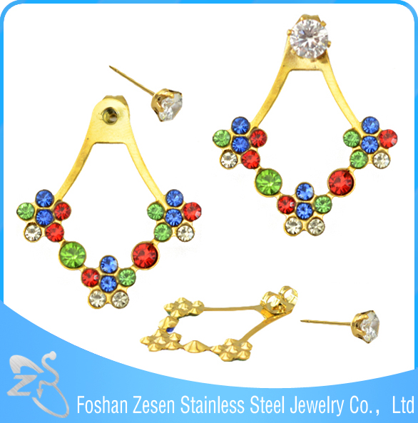 ZS20286 dubai gold earrings zircon tops design wholesale jhumka earrings