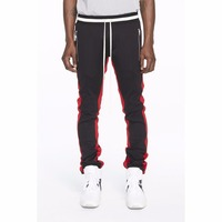 2017 autumn fashion jogger men's jogger pants with red side stripes sweat pants for man