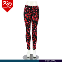 Guangzhou hot selling flower print new fashion trousers for women wholesale clothing dubai