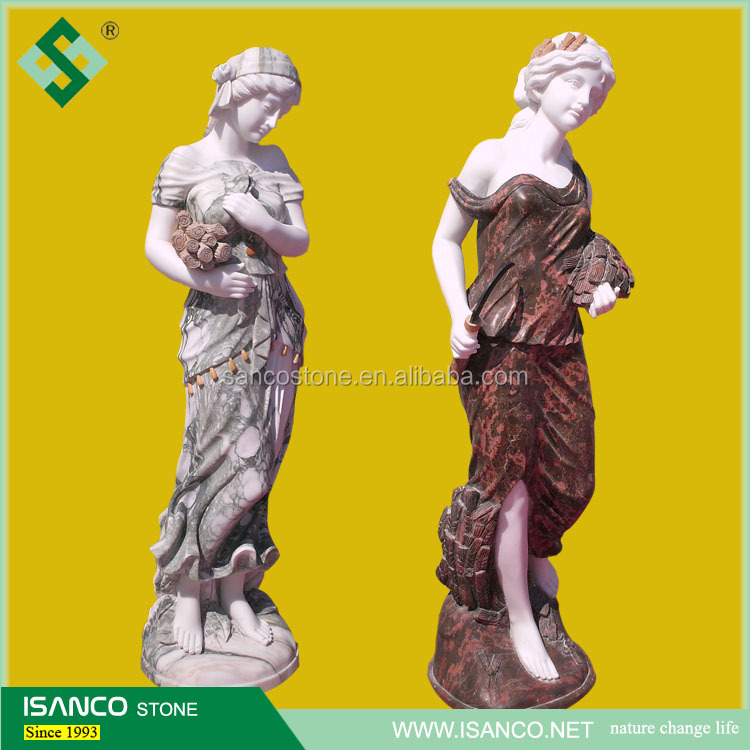 Stone Carving Natural Mixed Color Marble Sculpture Female Statue