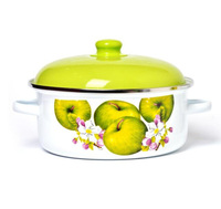 Green Apple Design Decal Printed Cookware Straight Enamel Casserole