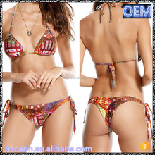 Exotic super sexy women triangle swimsuit micro cheeky thong bikini
