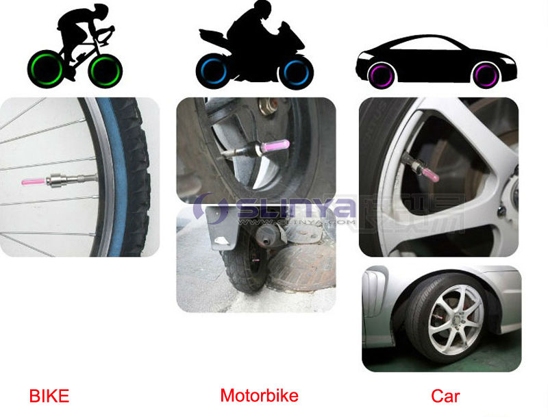 Car Bike Bicycle Motorbicycle LED Flash Tyre Wheel Valve Cap Light