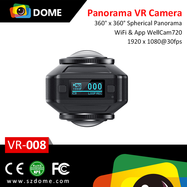2016 1080P dual lens panorama camera 30fps 0.82 inch Sport Camera WIFI FULL HD MINI Action Camera with waterproof case