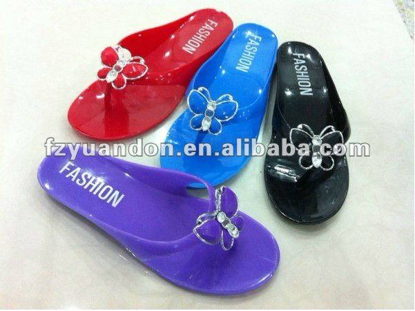 hot selling ladies crystal pvc jelly sandals