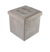 Large Ottoman Storage Box Pouffe Seat Chest Folding Stool Underbed Lid Velvet