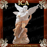 Hand carved man and woman mix color carving stone statues