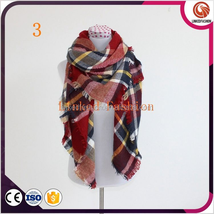 New Women Blanket Oversized Pashmina Tartan Scarf Wrap Shawl Plaid Cozy Checked STRIPED PATTERN WINTER SCARF