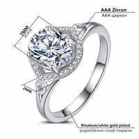 R262 nickel free High quality rings women wedding 30% silver and white gold Double plated ring bijou gem jewel Ring
