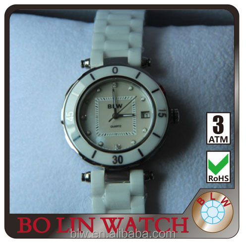 Modern shinny white color concept dial women's diamond stones alibaba