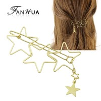 Fashion Gold Color Star Shape Hair Clips Barrettes