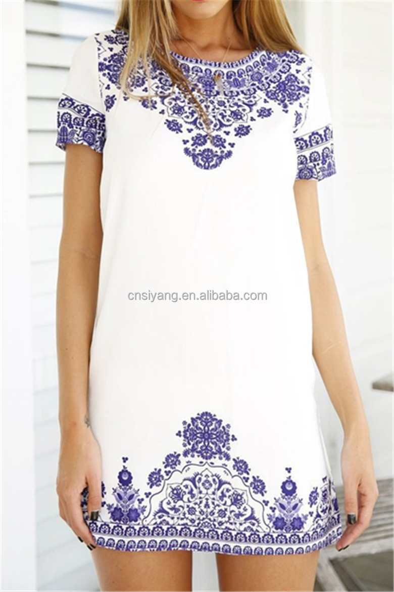 2015 women new design fashion short sleeve mini printed shift dresses SYA15373