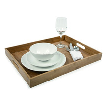 Wholesale Bamboo Wood Serving Trays / Platters with Metal Handles