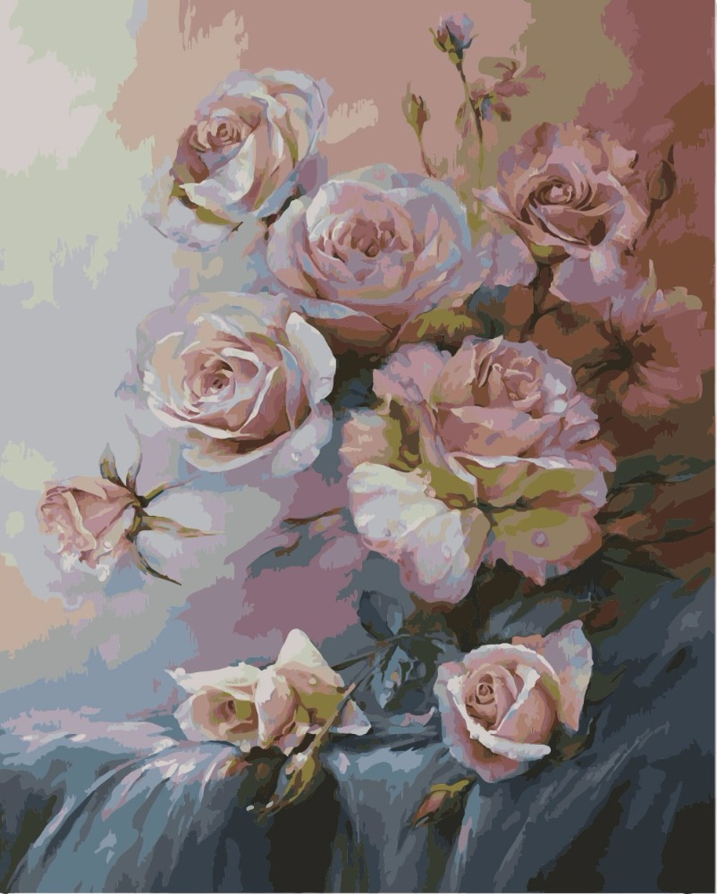free shipping 2017 Flower Oil Painting <strong>Pictures</strong> By Number For Wall Decoration