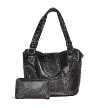 Concealed Carry Tooled Leather Shoulder Purse - Concealed Weapon Gun Bag Match Wallet ladies wallet ladies pars hand set bag