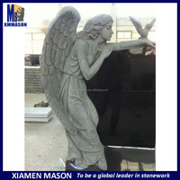 Big wing weeping angel tombstone with classic headstone