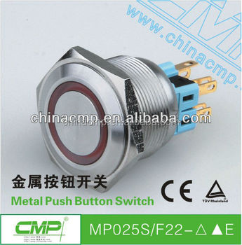 CE and TUV Metal Waterproof Momentary Led Push Button Switch