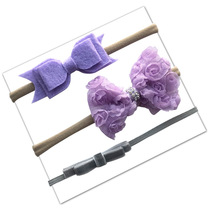 Nylon Floral Lavender Color Bow 3pcs Baby Headbands Vintage Hair Accessory