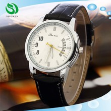 Luxury Brand Leather Analog Display Date Men's Quartz Casual Men Wristwatch