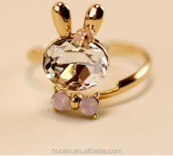 Wholesale rabbit fashion korea style fancy silver ring design ring for stock