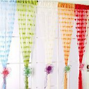Romantic Heart-shaped Soft Curtain Porch Panel Line String Tassel Curtain Drape for Window Door Vestibule